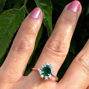 Jewelry - 21K Yellow/ white Gold Diamond & Emerald Ring